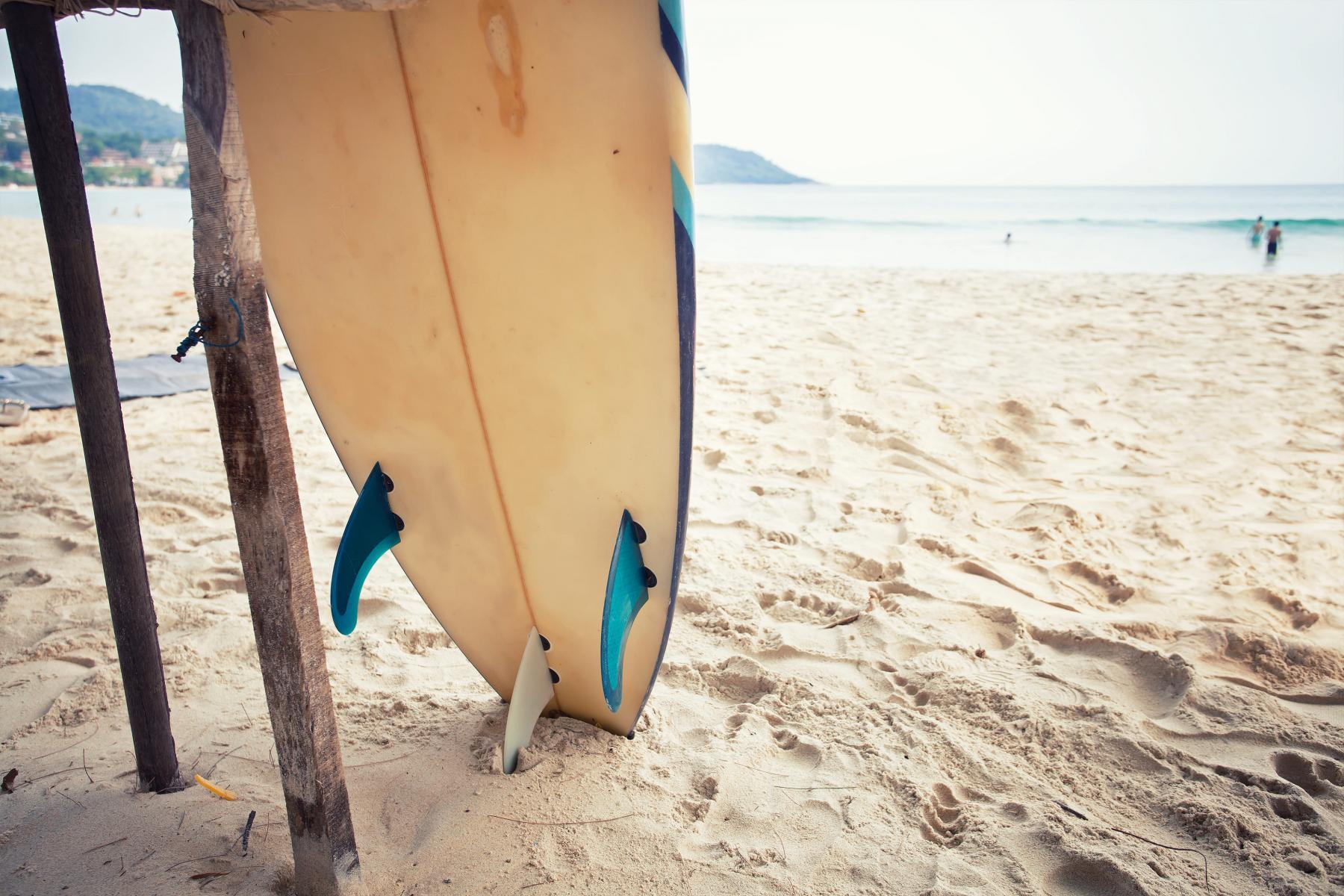 A surfboard at the beach