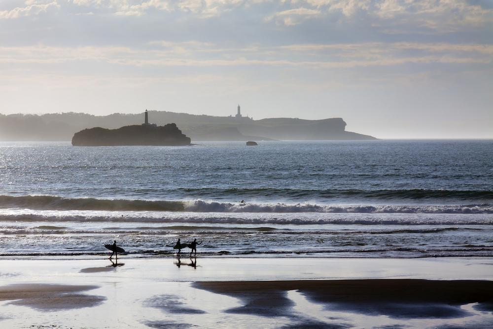 Somo, Cantabria, Spain surf beach surfers