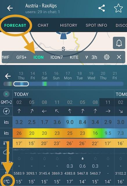 Dew point in mobile app Windy.app, ICON forecast