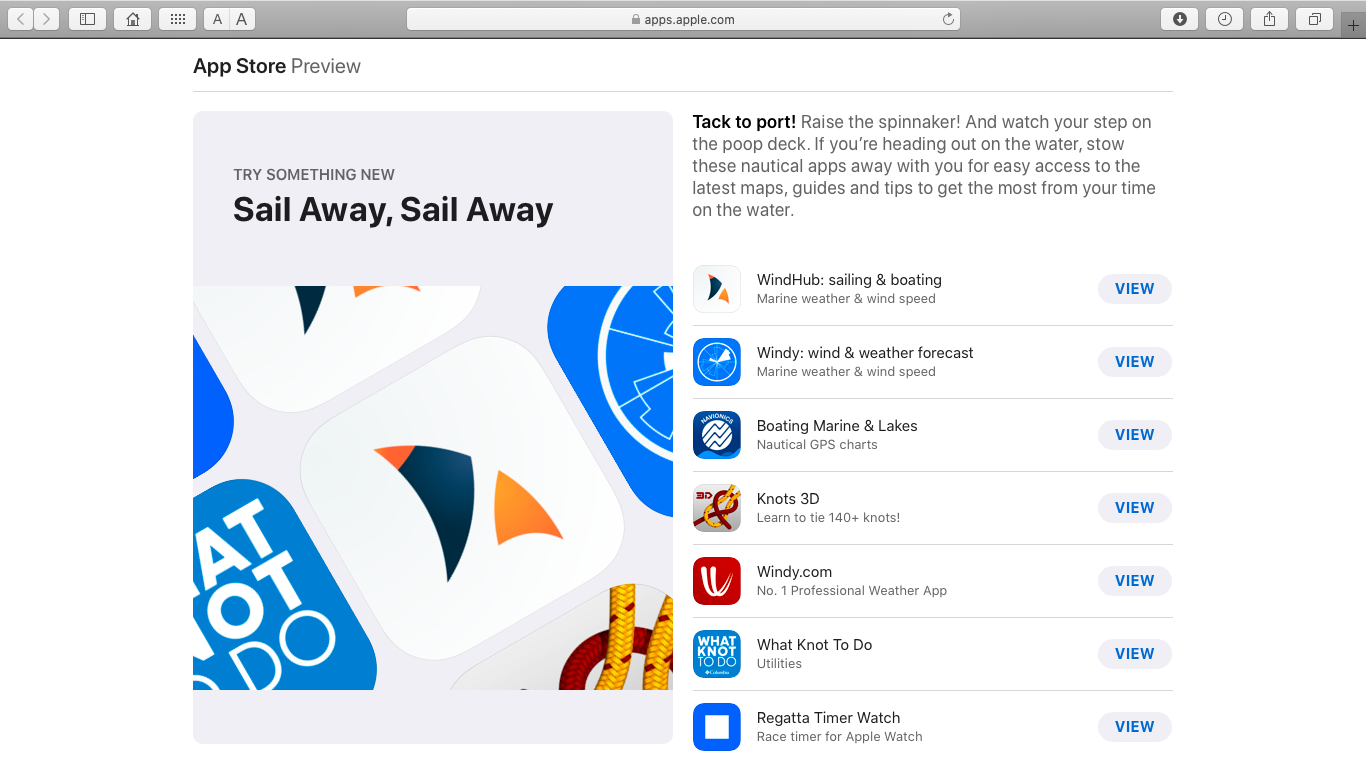 Apple editors chose Windy.app and Windhub for sailing