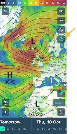 Isobars map in Windy.app